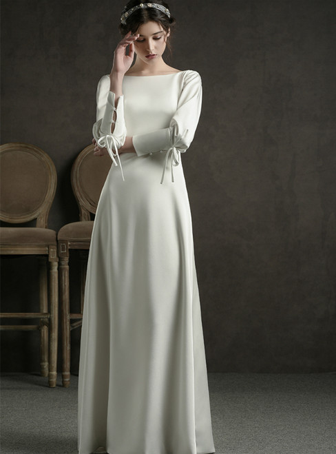 A-Line White Satin Bateau Long Sleeve Backless Floor Length Wedding Dress