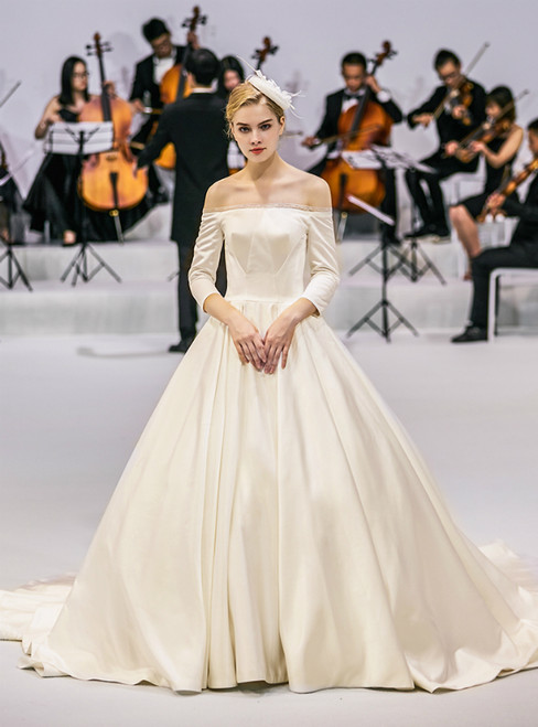 White Ball Gown Satin Off The Shoulder Long Sleeve Wedding Dress