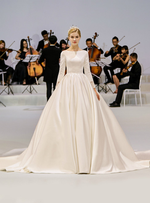 White Ball Gown Satin Bateau Long Sleeve See Through Back Wedding Dress