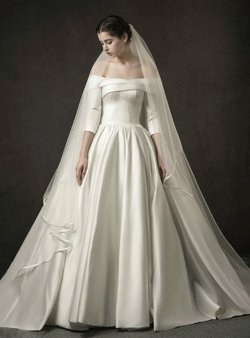 White Ball Gown Satin Off The Shoulder Half Sleeve Wedding Dress