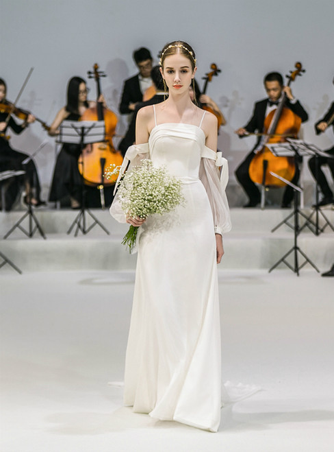 A-Line Spaghetti Straps Satin Long Sleeve Wedding Dress With Bow
