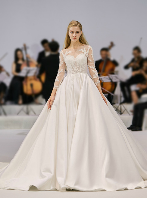 Ivory White Satin Lace Appliques Long Sleeve Backless Wedding Dress
