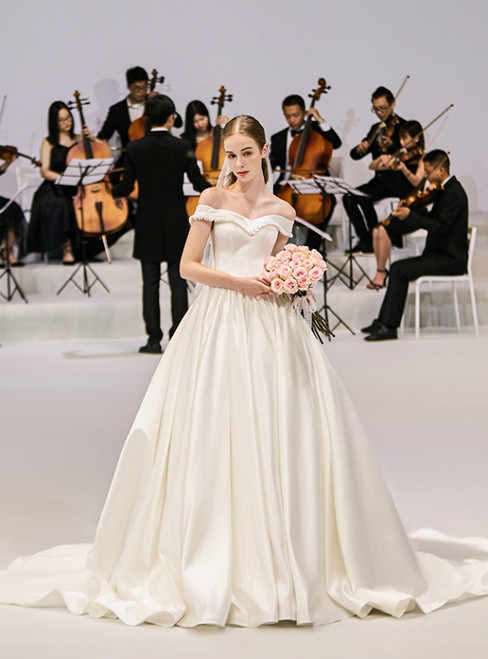 Ivory White Satin Off The Shoulder Bow Wedding Dress With Train