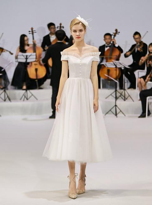 Ivory White Tulle Satin Off The Shoulder Tea Length Wedding Dress