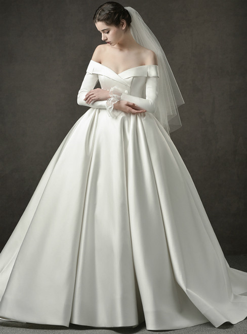 Ivory White Ball Gown Satin Off The Shoulder Long Sleeve Wedding Dress