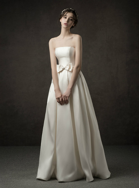 A-Line Ivory White Satin Strapless Floor Length Wedding Dress With Bow