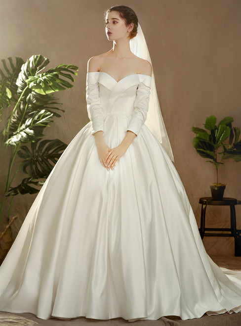 Ivory White Satin Off The Shoulder Long Sleeve Wedding Dress With Button
