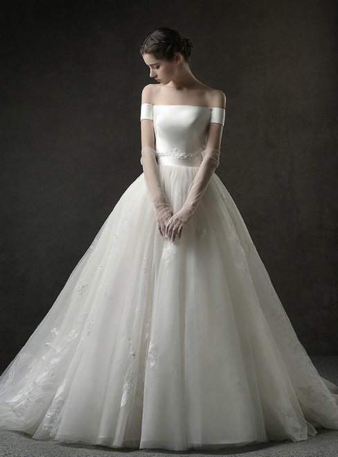 Ivory White Ball Gown Tulle Satin Off The Shoulder Appliques Wedding Dress