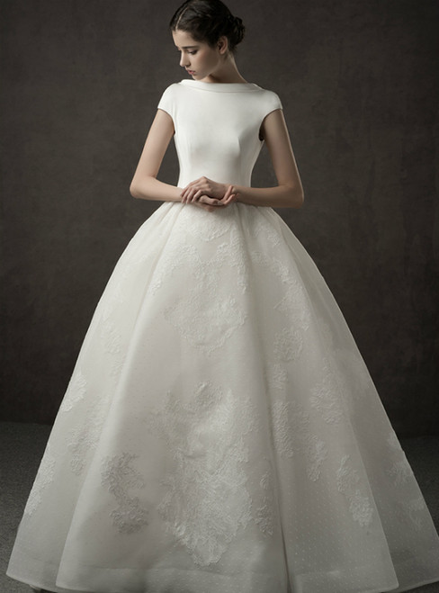 Ivory White Ball Gown Tulle Appliques Bateau Cap Sleeve Backless Wedding Dress