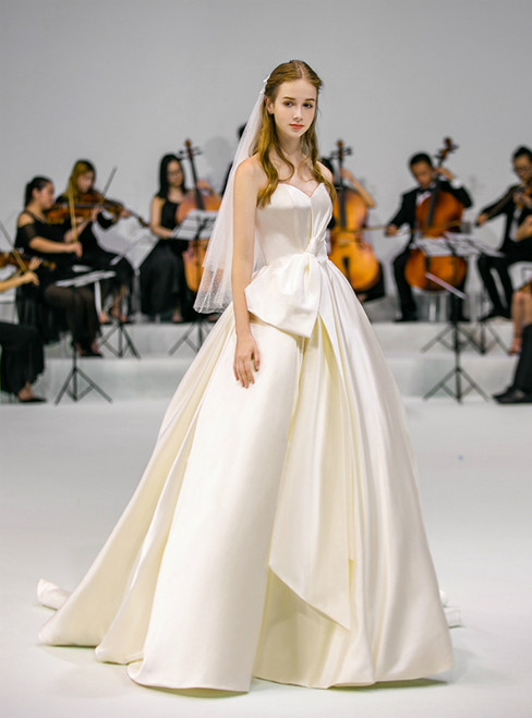 Ivory Ball Gown White Satin Strapless Long Wedding Dress With Bow