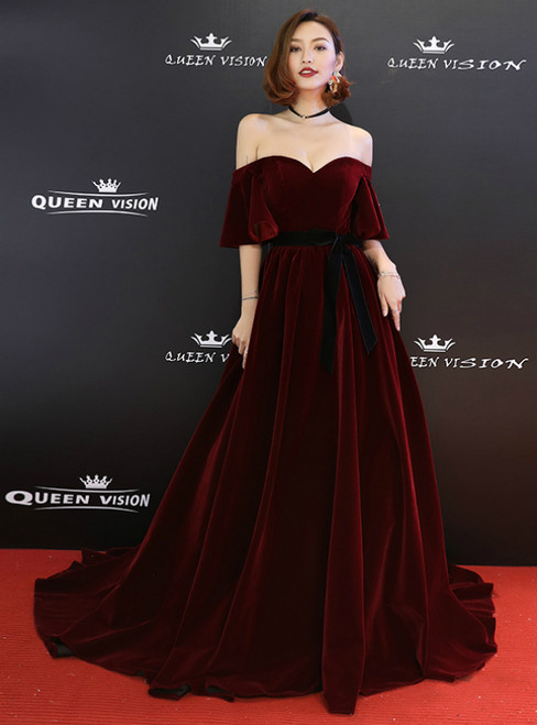 In Stock:Ship in 48 Hours Burgundy Velvet Off The Shoulder Prom Dress