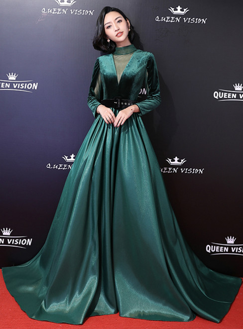 401668055802 In Stock:Ship in 48 Hours Dark Green Satin High Neck Long Sleeve Prom Dress