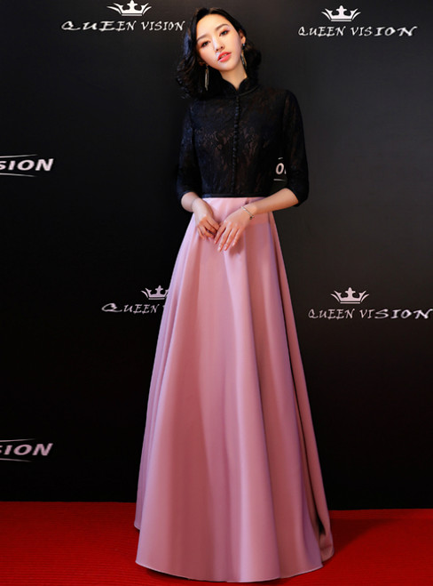 In Stock:Ship in 48 Hours Black Lace Pink Satin Long Sleeve Prom Dress