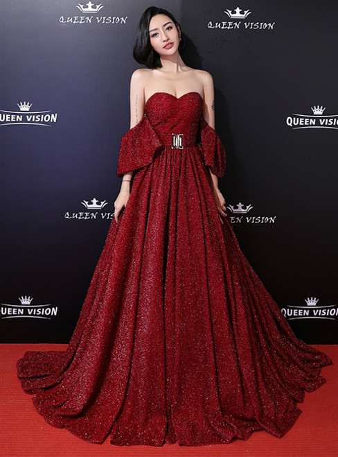 In Stock:Ship in 48 Hours Burgundy Sequins Off The Shoulder Prom Dress