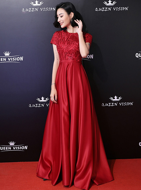 In Stock:Ship in 48 Hours Red Satin Cap Sleeve Prom Dress With Beading