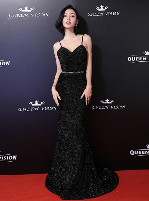 In Stock:Ship in 48 Hours Black Mermaid Spaghetti Straps Prom Dress