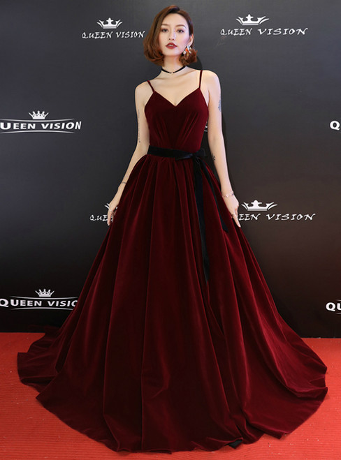 In Stock:Ship in 48 Hours Burgundy Velvet Spaghetti Straps Prom Dress