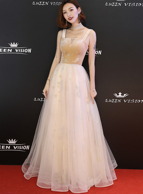 In Stock:Ship in 48 Hours Champagne Tulle Straps Long Prom Dress