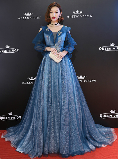 In Stock:Ship in 48 Hours Blue Tulle Long Sleeve Prom Dress With Crystal