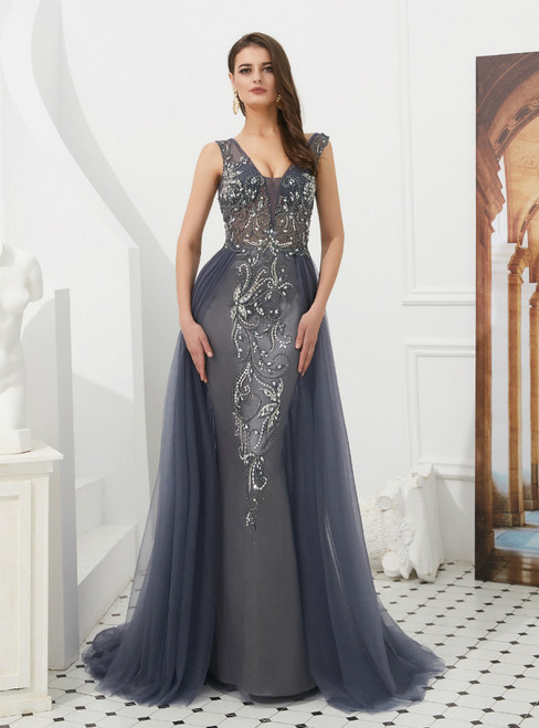 Gray Sheath Tulle V-neck Backless Long Prom Dress With Beading