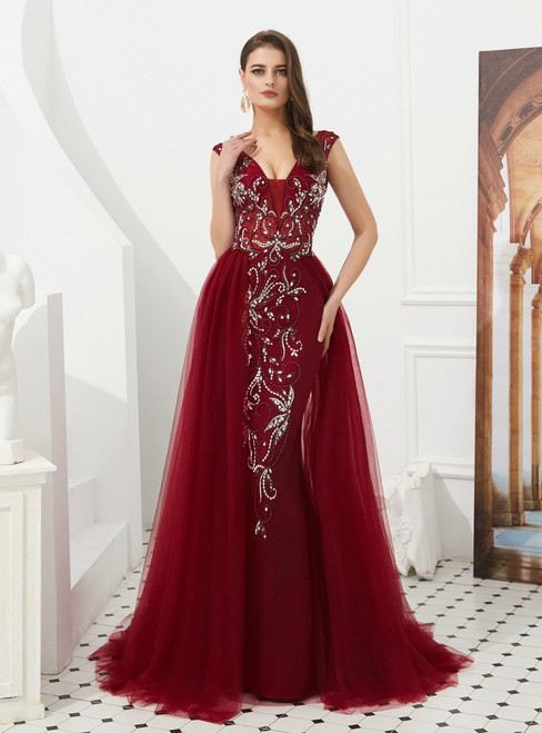 Burgundy Sheath Tulle V-neck Backless Long Prom Dress With Beading