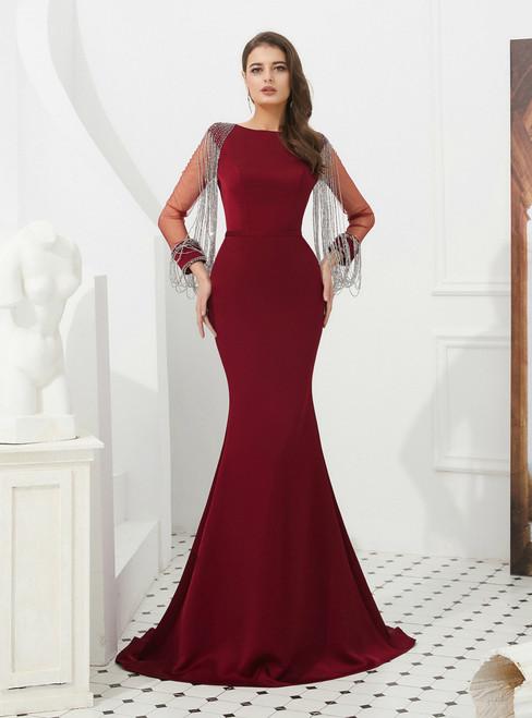 Burgundy Mermaid Satin Long Sleeve Prom Dress With Beading