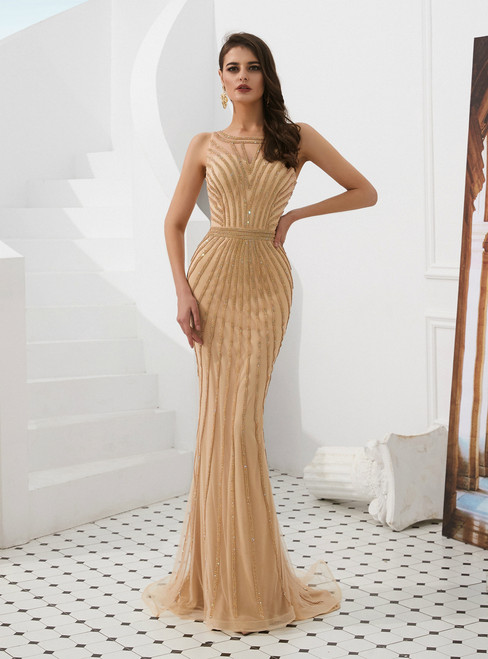 Champagne Mermaid Tulle Sleeveless Long Prom Dress With Beading