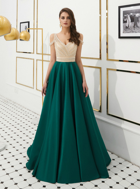 Green Satin V-neck Cold Shoulder Backless Long Prom Dress With Beading