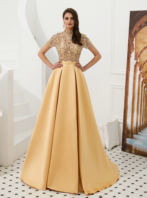 A-Line Champagne Gold Satin High Neck Cap Sleeve Prom Dress With Beading