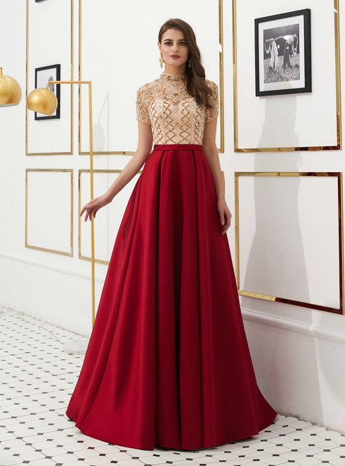 A-Line Burgundy Satin High Neck Cap Sleeve Prom Dress With Beading