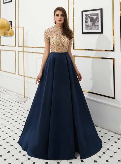 A-Line Navy Blue Satin High Neck Cap Sleeve Prom Dress With Beading