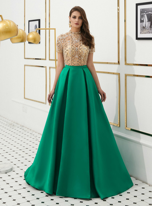 A-Line Green Satin High Neck Cap Sleeve Prom Dress With Beading