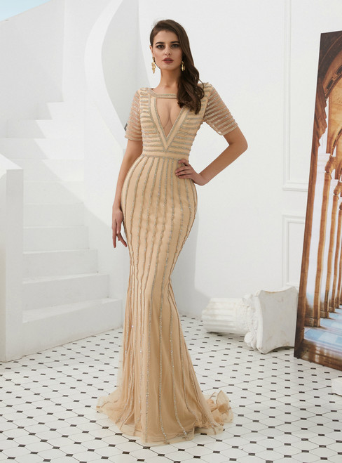 Champagne Mermaid Tulle Short Sleeve Long Prom Dress With Beading