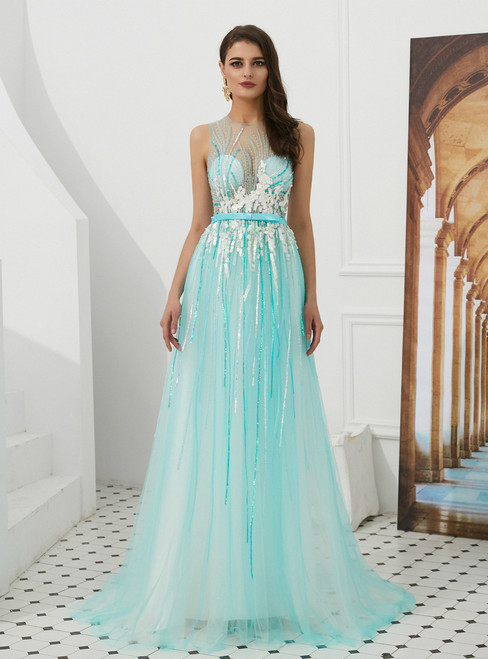 Blue Tulle See Through Top Sequins Long Prom Dress With Bow