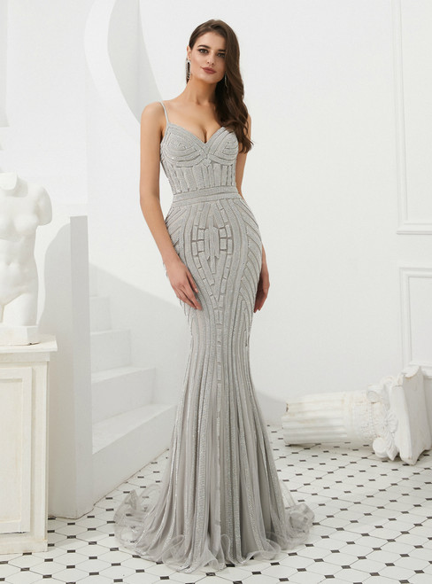 Silver Gray Mermaid Tulle Spaghetti Straps Long Prom Dress With Beading