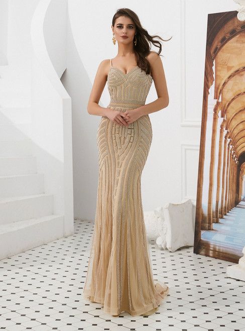 Champagne Mermaid Tulle Spaghetti Straps Long Prom Dress With Beading
