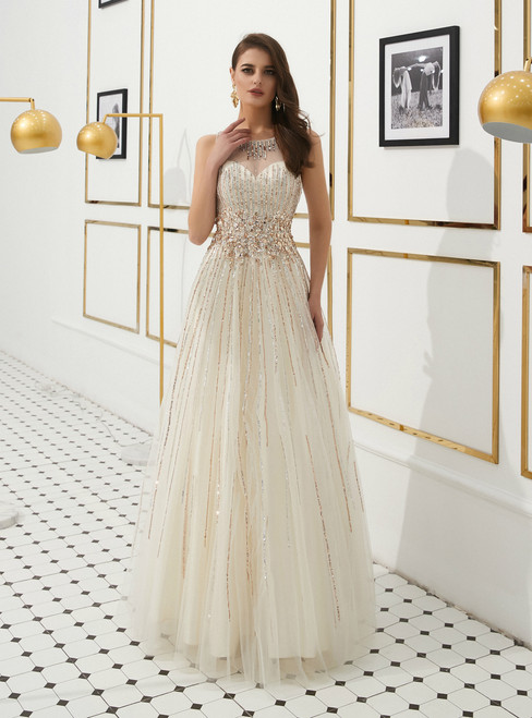Light Champagne Tulle Backless Long Prom Dress With Beading Crystal