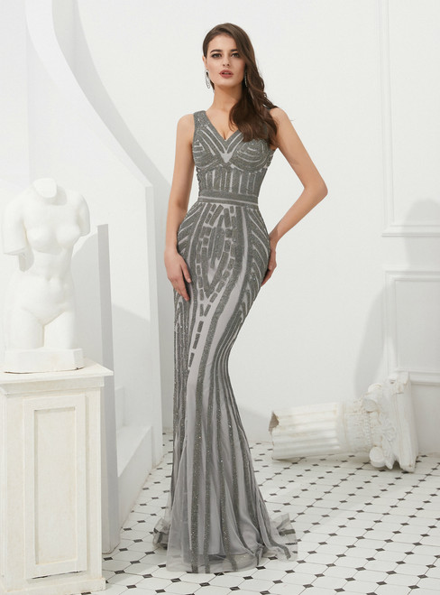 Gray Mermaid Tulle V-neck Long Prom Dress With Beading