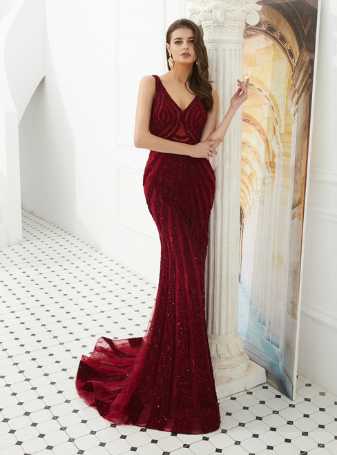 Burgundy Mermaid Lace V-neck Backless Long Prom Dress With Beading