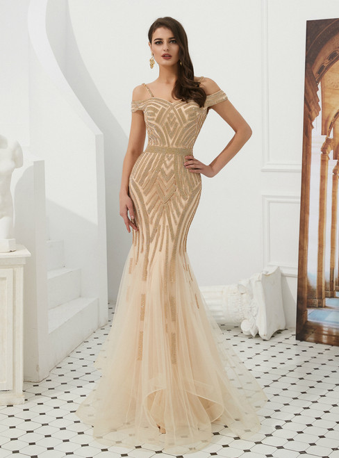 Champagne Mermaid Tulle Spaghetti Straps Prom Dress With Beading