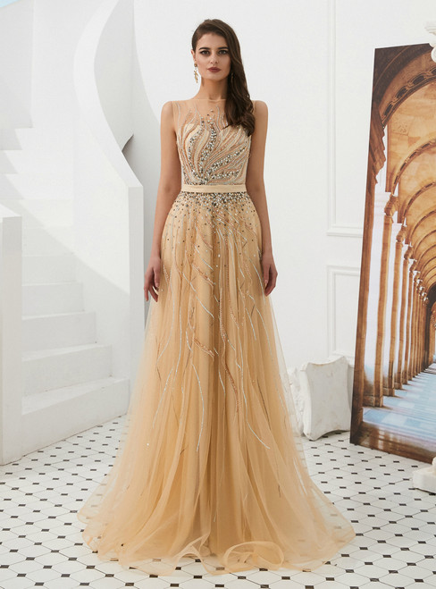 A-Line Champagne Tulle See Through Long Prom Dress With Beading
