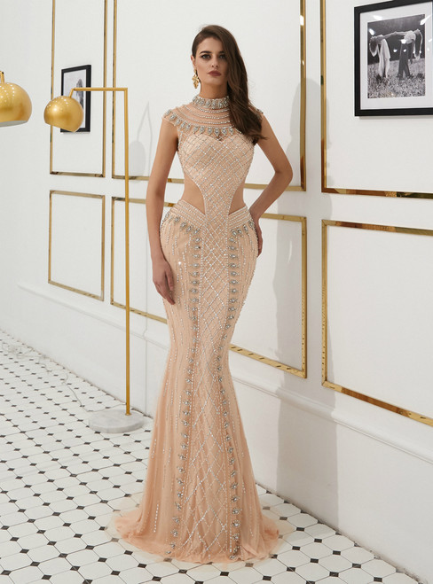 Champagne Mermaid Tulle High Neck Cut Out Prom Dress With Beading