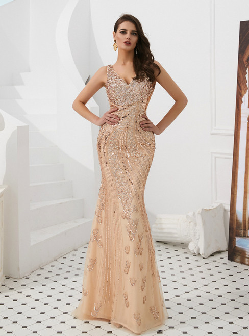 Champagne Mermaid Tulle V-neck Backless Sequins Long Prom Dress With Sequins