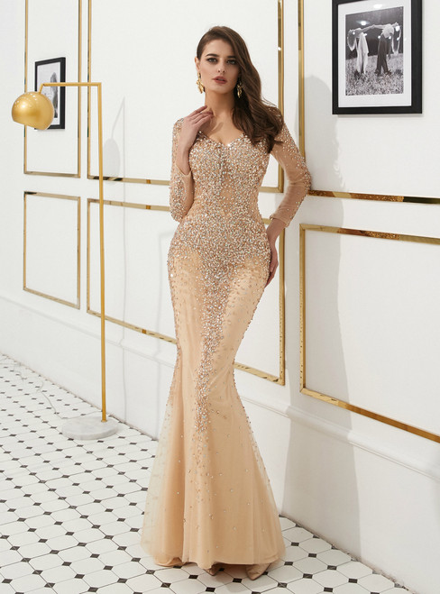 Champagne Mermaid Tulle V-neck Long Sleeve Prom Dress With Beading