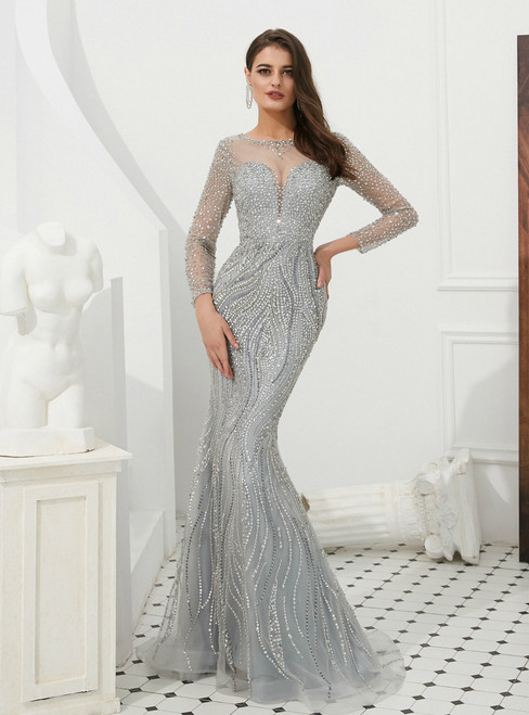 Gray Mermaid Tulle Long Sleeve See Through Prom Dress With Sequins