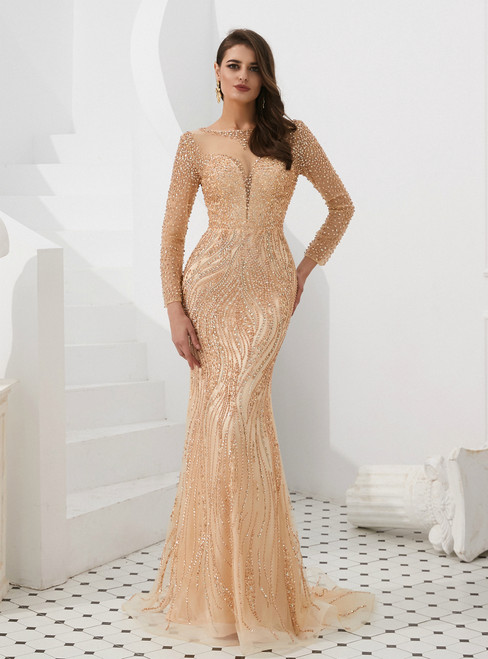 Champagne Mermaid Tulle Long Sleeve See Through Prom Dress With Sequins