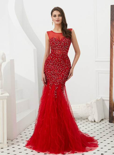 Red Mermaid Tulle Sleeveless Prom Dress With Beading Feather