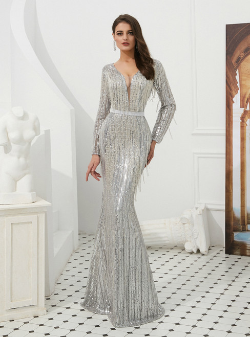 Silver Mermaid Sequins V-neck Backless Long Sleeve Prom Dress With Beading