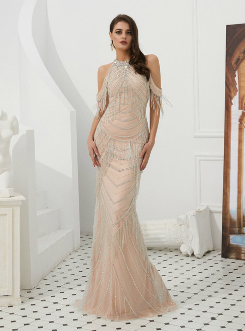 Champagne Mermaid Tulle Halter See Through Back Prom Dress With Side