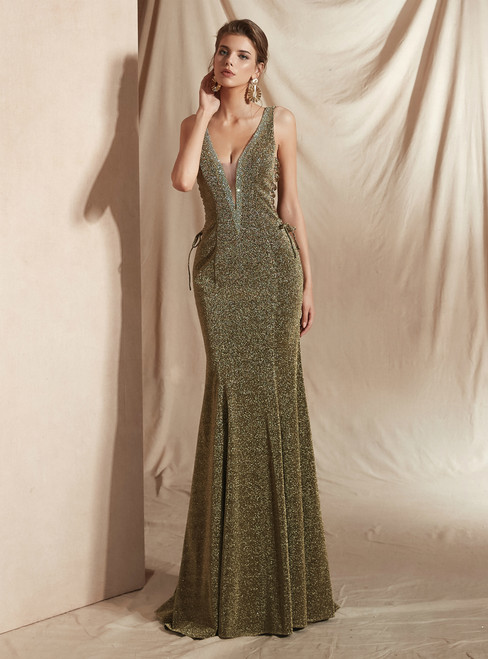 Green Mermaid Deep V-neck Backless Lace Up Prom Dress